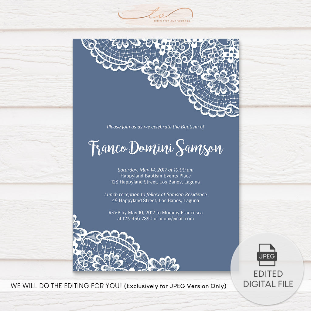 TVC134 Elegant Lace Baptism Invitation Template