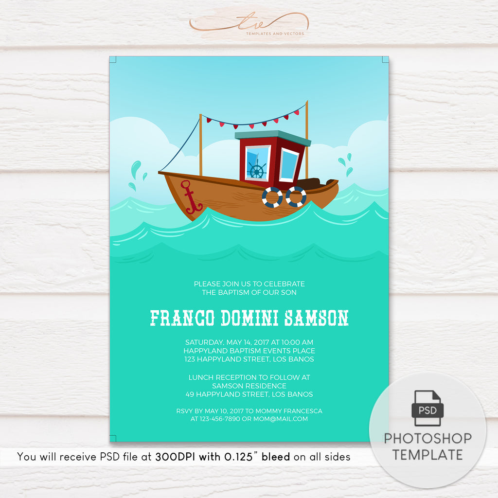 TVC135 Nautical Sailboat Baptism Invitation Template