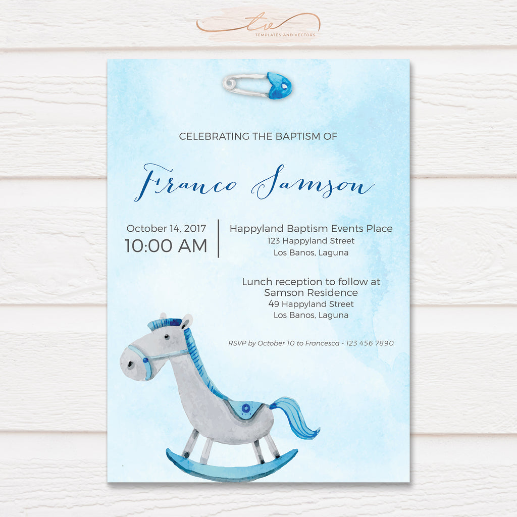 TVC137 Watercolor Rocking Horse Baptism Invitation Template