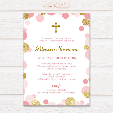 TVC141 Pink and Gold Confetti Baptism Invitation Template