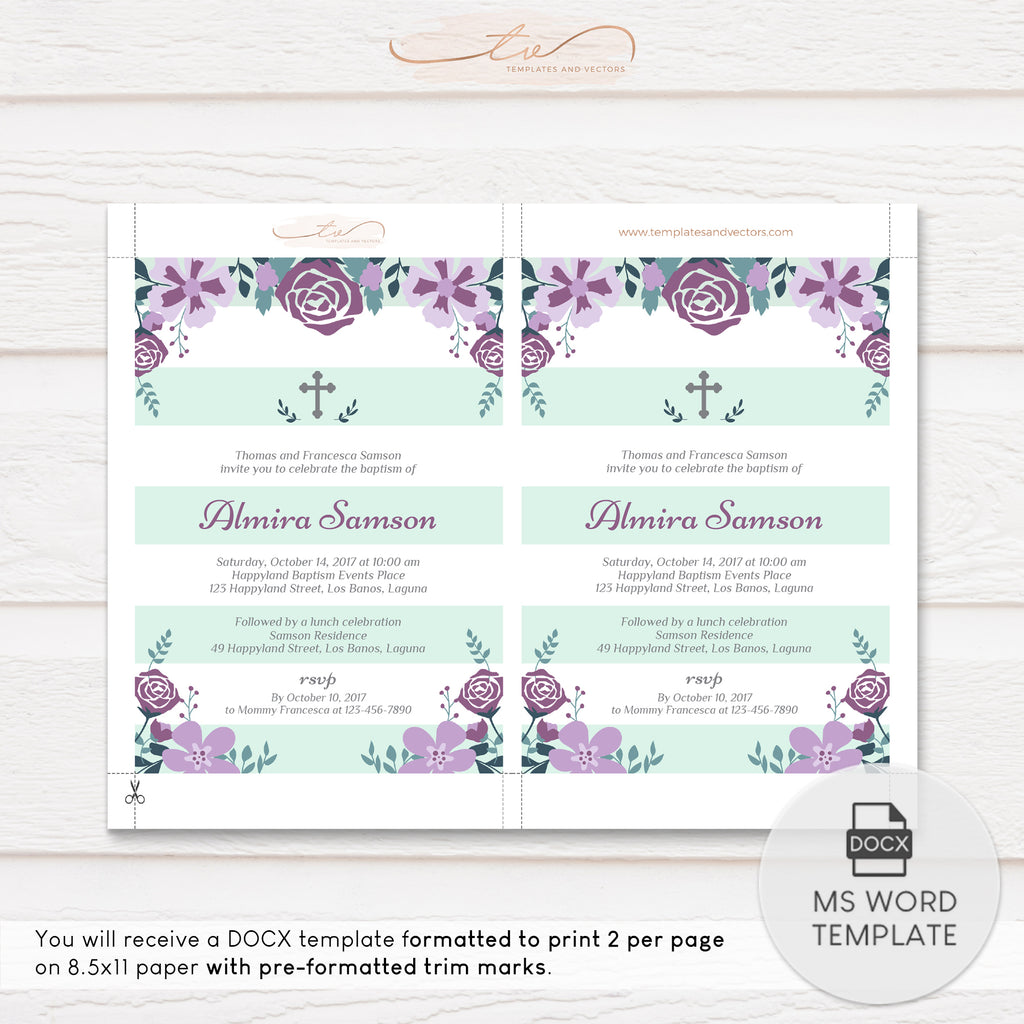TVC142 Purple Florals on Mint Stripe Background Baptism Invitation Template