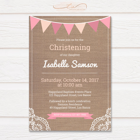TVC143 Pink Flags and Lace on Burlap Baptism Invitation Template