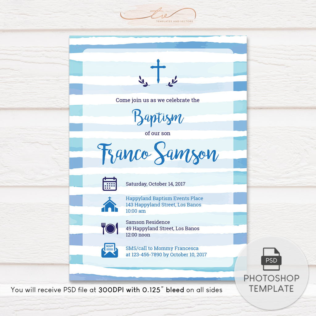 TVC144 Blue Icons on Striped Background Nautical Baptism Invitation Template