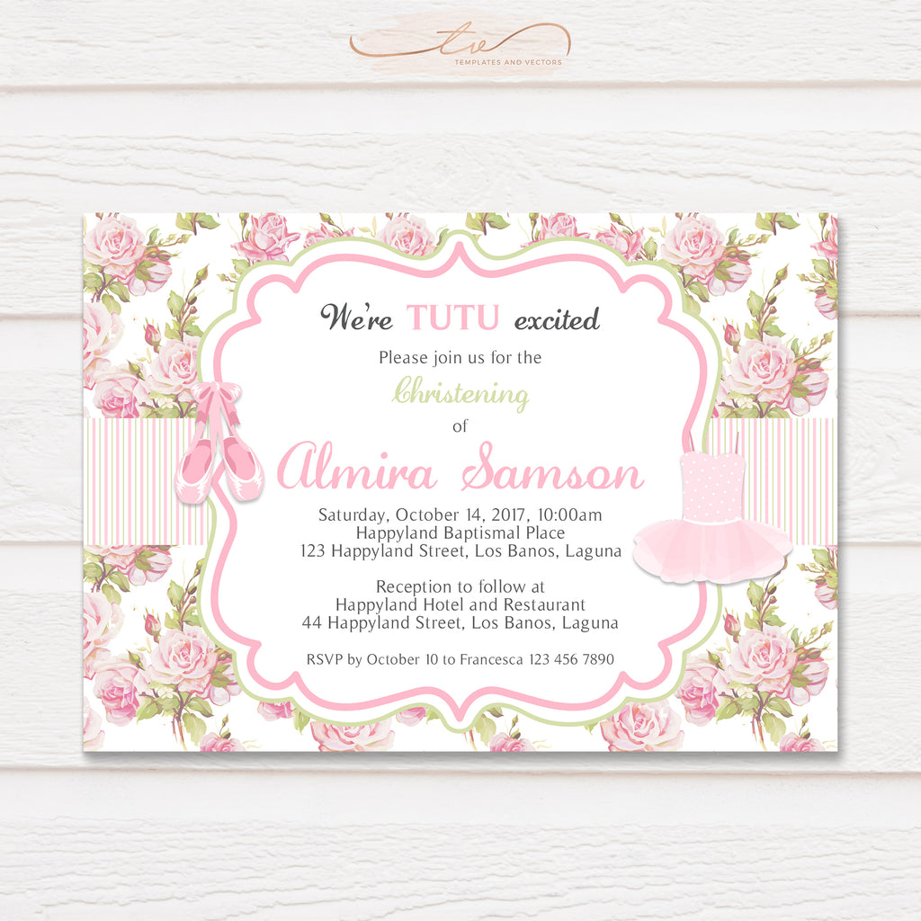 TVC151 Tutu and Ballet Shoes Baptism Invitation Template