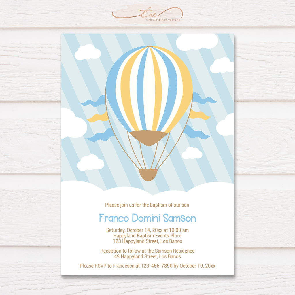 TVC175 Hot Air Balloon Ride Baptism Invitation Template