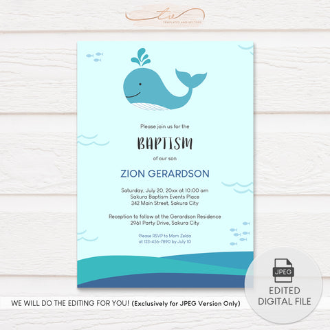 TVC194 Baby Whale Baptism Invitation Template