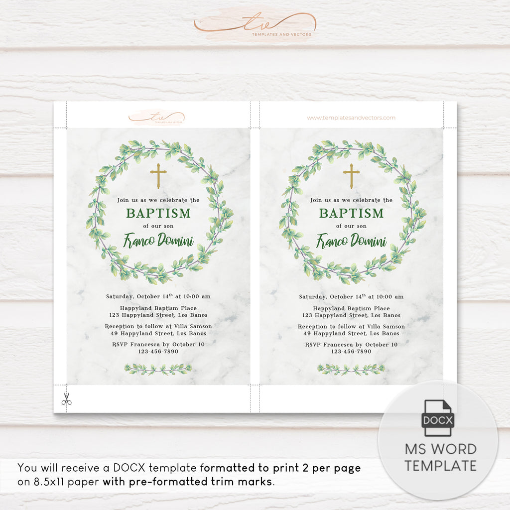 TVC204 Green Foliage Wreath on Marble Baptism Invitation Template