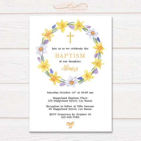 TVC205 Watercolor Daffodil Wreath Baptism Invitation Template