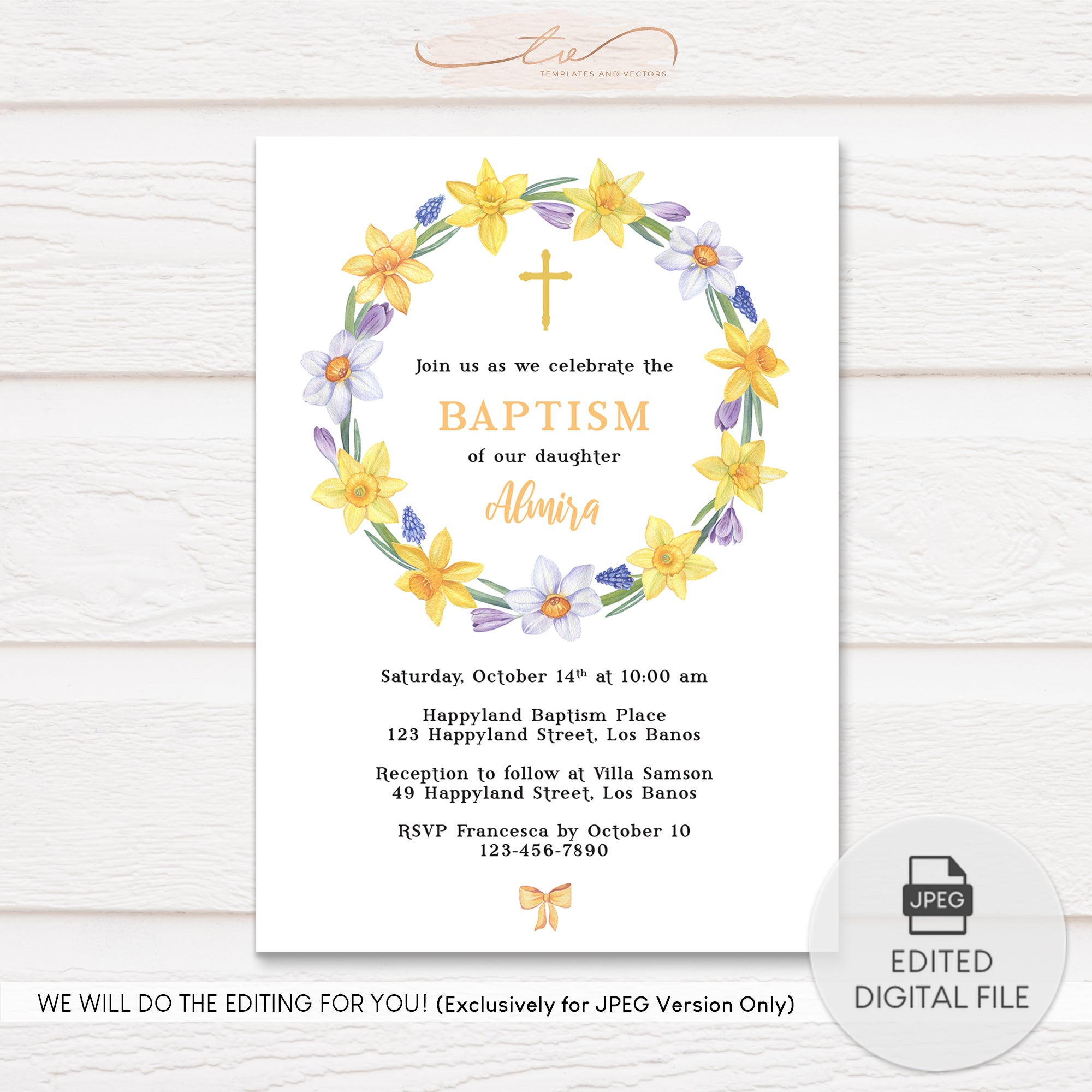 tvc205 watercolor daffodil wreath baptism invitation template – templates  and vectors  templates and vectors