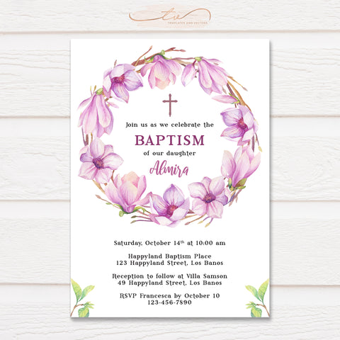 TVC206 Watercolor Magnolia Flower Wreath Baptism Invitation Template
