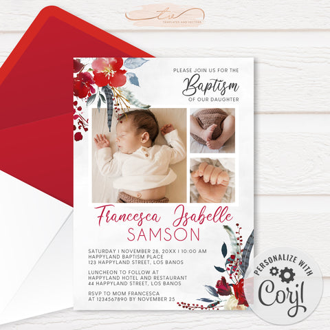 TVC209 Red Floral Photo Collage Baptism Invitation (Edit Yourself at Corjl)