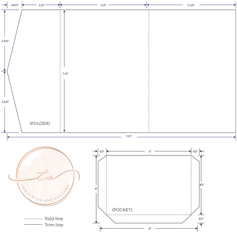 5.25x7.25 Pocketfold Envelope Template