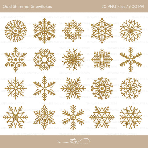 Gold Shimmer Snowflakes Clipart / TVG006