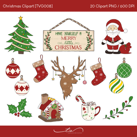 Merry Christmas Clipart and Seamless Digital Papers / TVG008