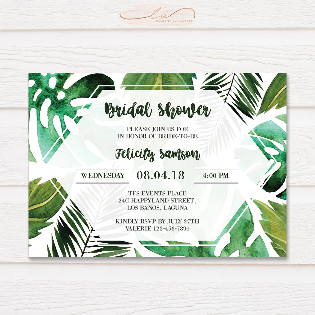 TVS172 Tropical Leaves Bridal Shower Invitation Template