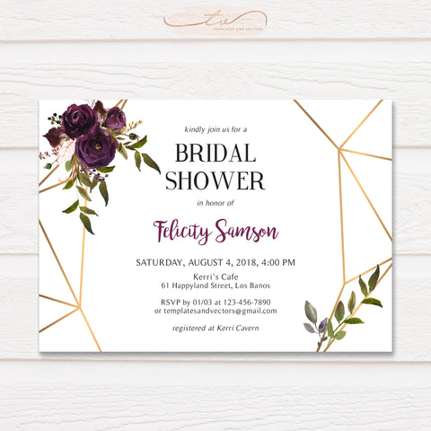 TVS208 Plum Geometric Floral Bridal Shower Invitation Template