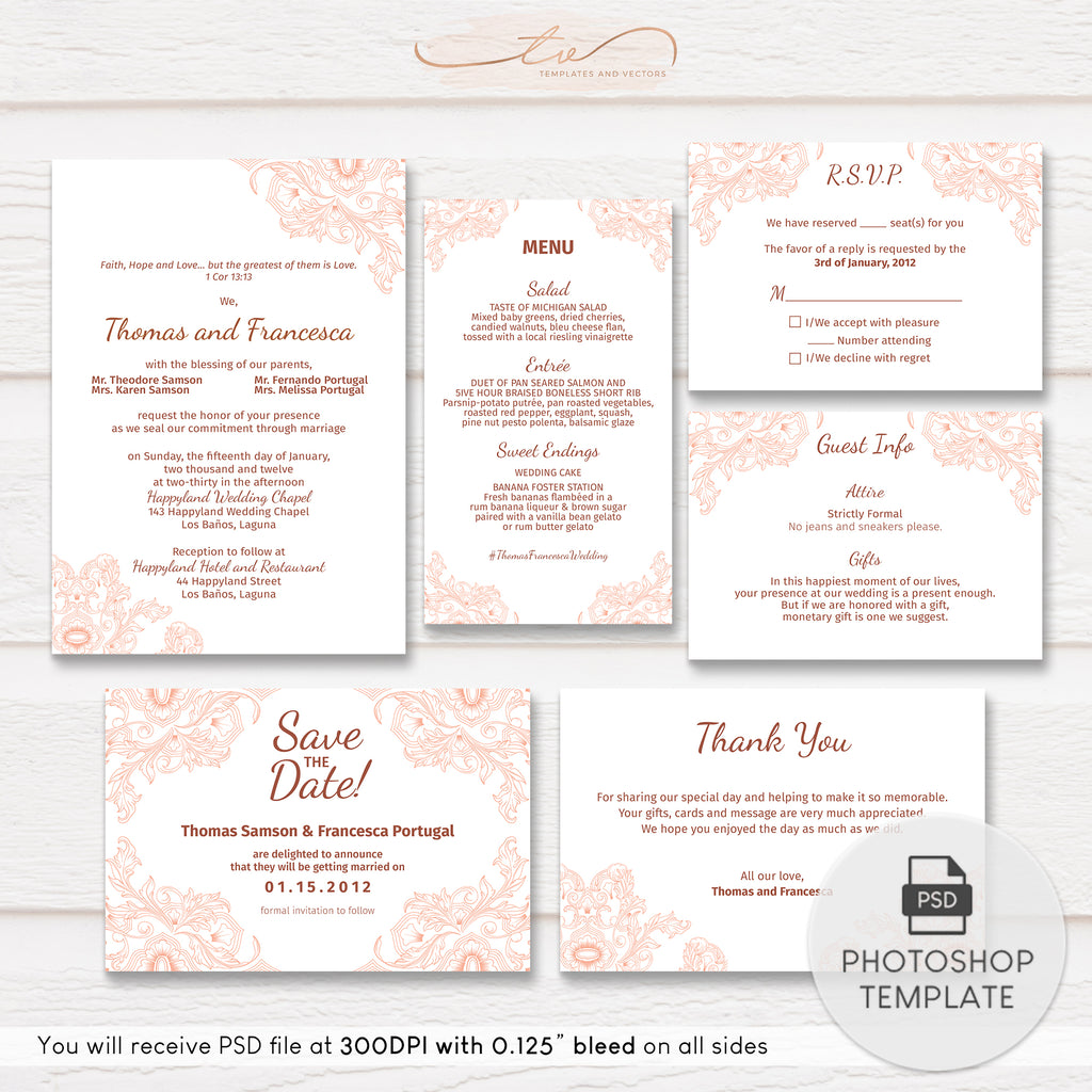 TVW003 Classic Floral Wedding Suite Template