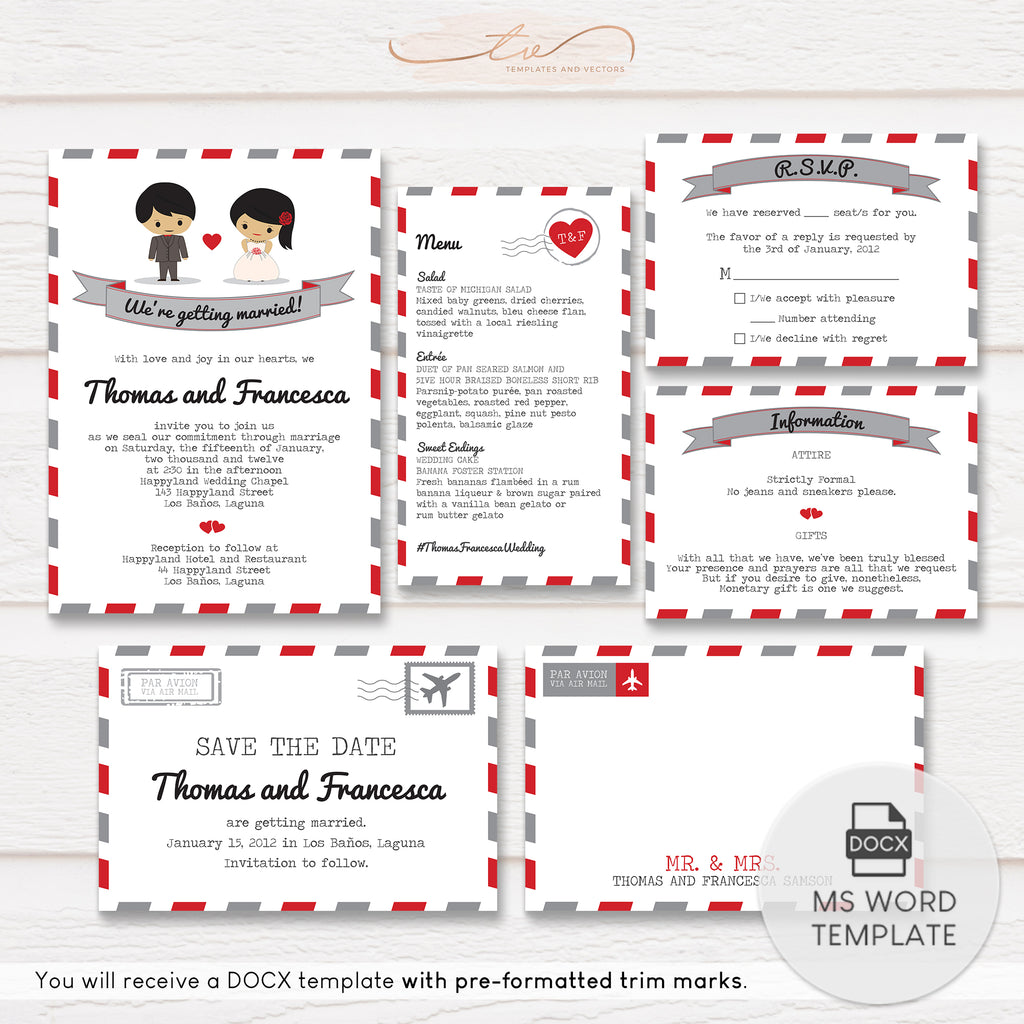 TVW011 Air Mail Wedding Suite Template