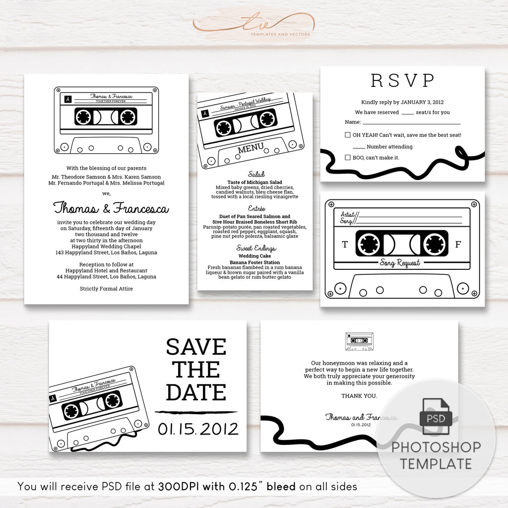 TVW013 Cassette Tape Wedding Suite Template