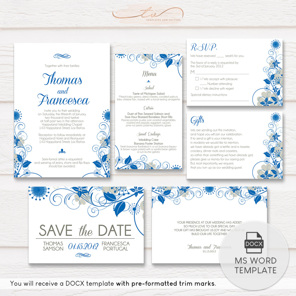 TVW014 Garden Flourish Wedding Suite Template