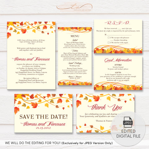 TVW018 Autumn Leaves Wedding Suite Template