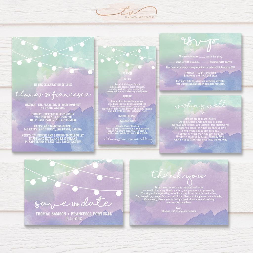 TVW025 Watercolor String Lights Wedding Suite Template