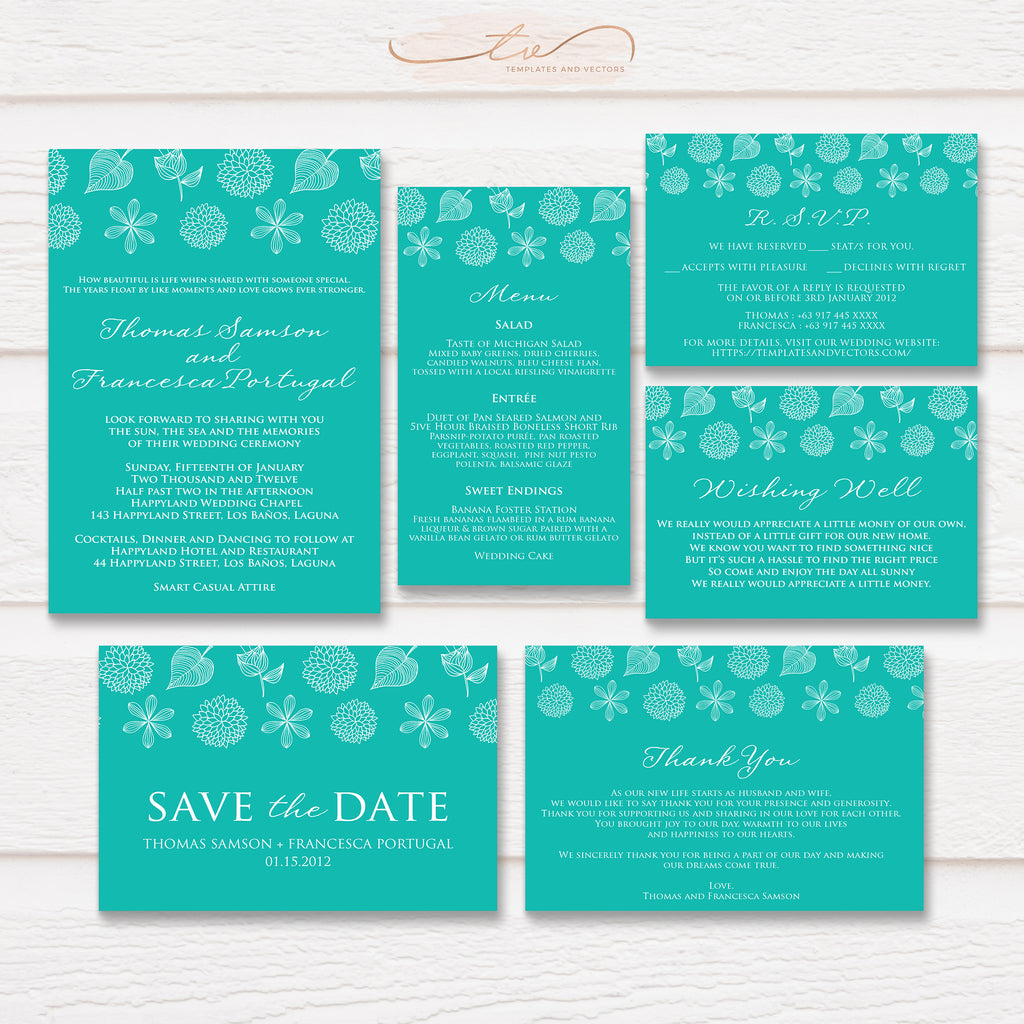 TVW033 Nature Doodle Wedding Suite Template