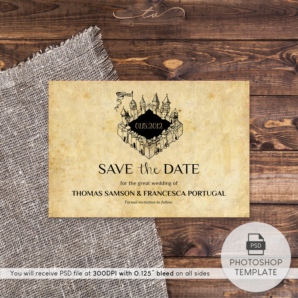 "TVW042 Harry Potter Wedding Save-the-Date Template 6""x4"""