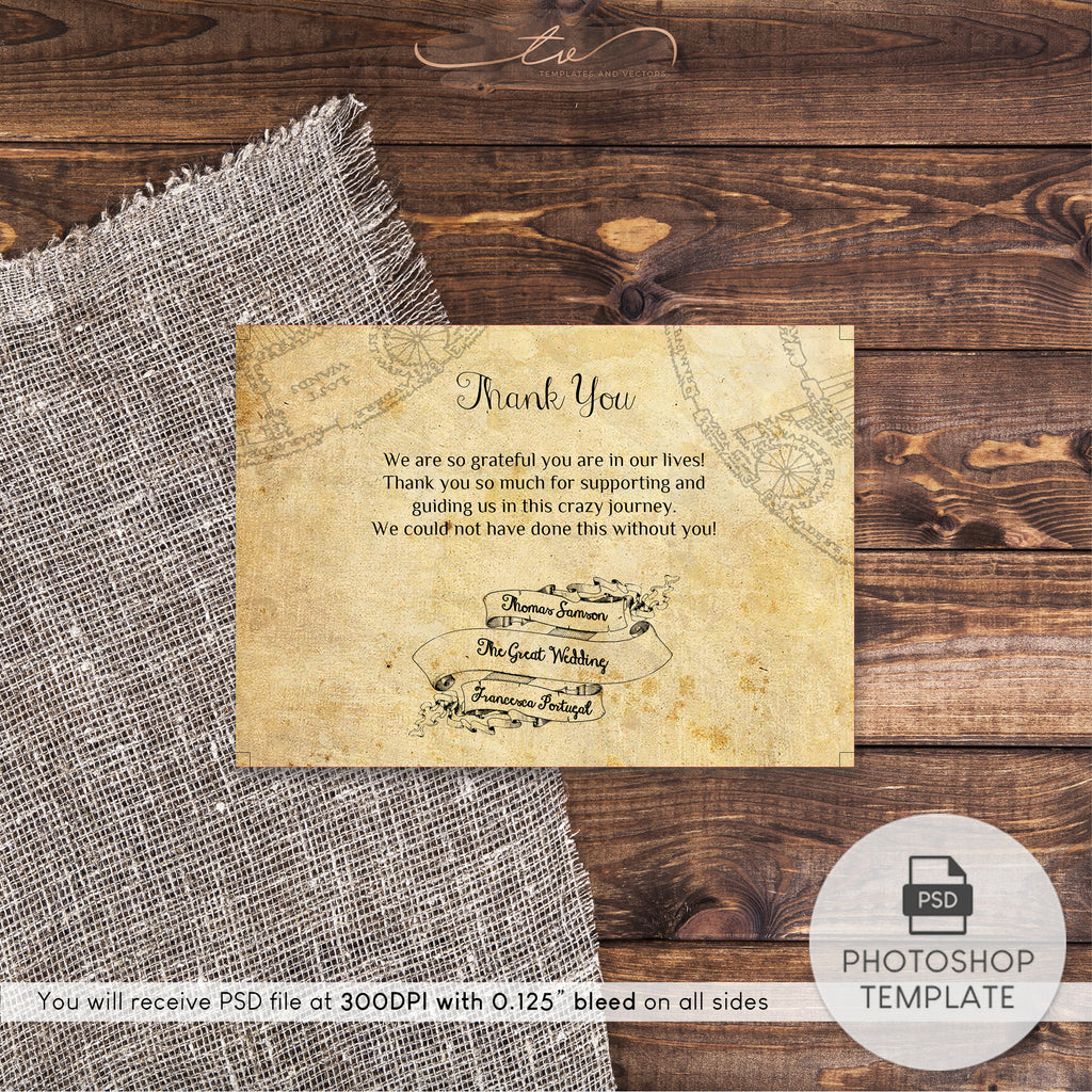 "TVW042 Harry Potter Wedding Thank You Template 5""x3.5"""