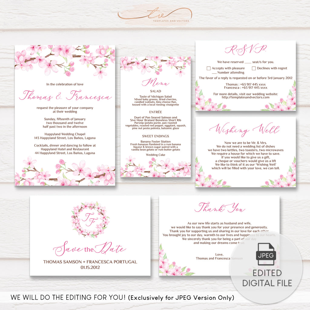 TVW043 Cherry Blossoms Wedding Suite Template