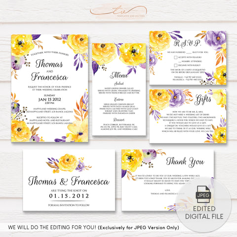 TVW044 Watercolor Flowers Wedding Suite Template