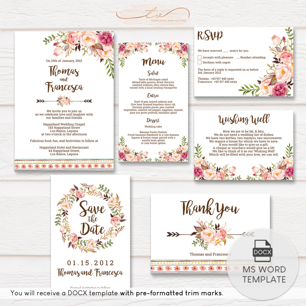 TVW049 Bohemian Wedding Suite Template