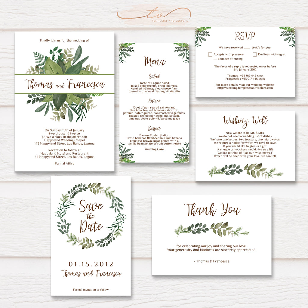 TVW050 Rustic Leaves Wedding Suite Template