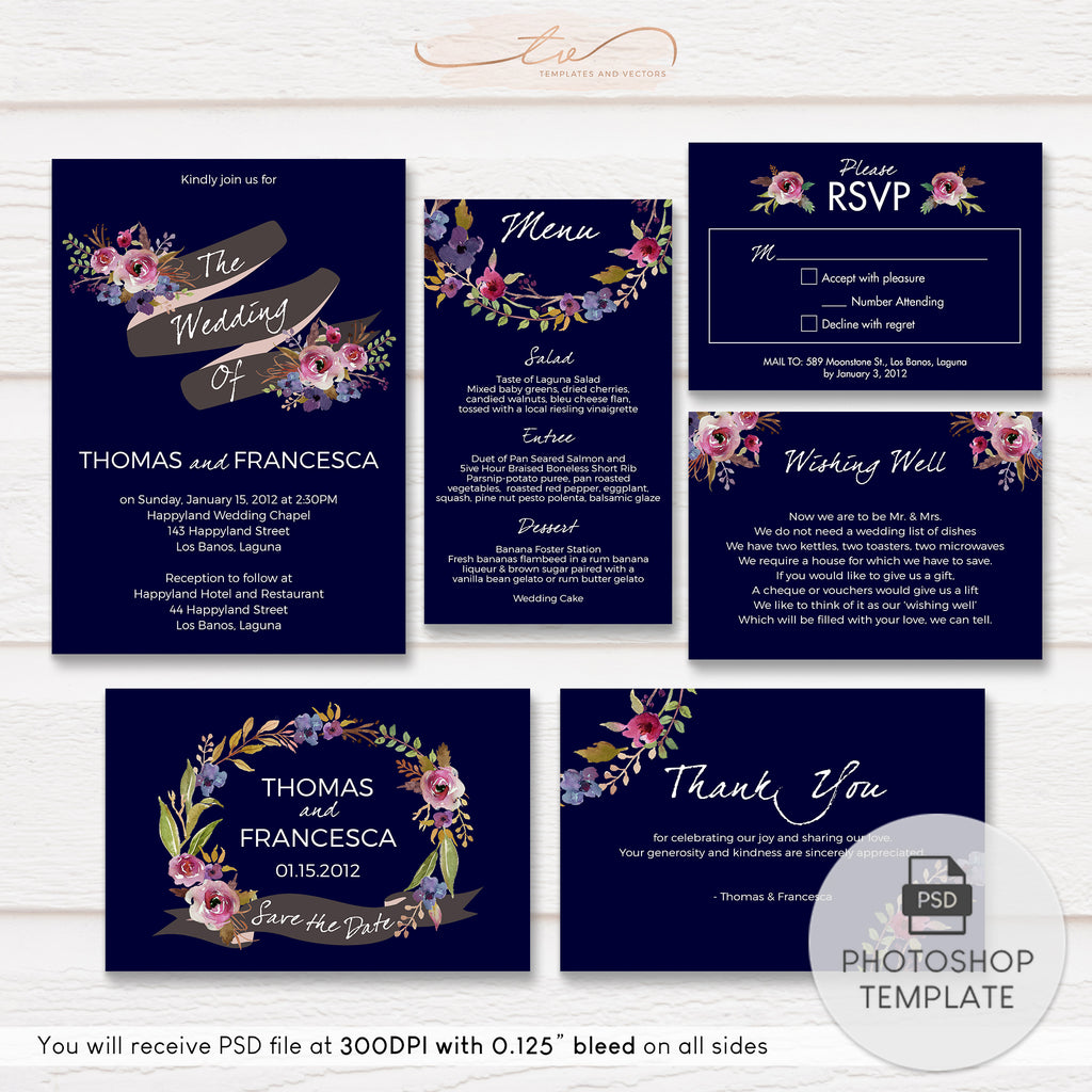 TVW052 Rustic Floral Navy Wedding Suite Template