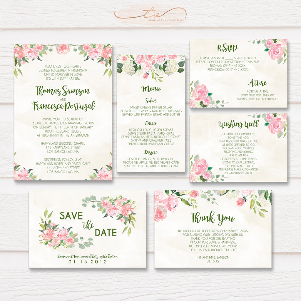 TVW054 Watercolor Floral Wedding Suite Template
