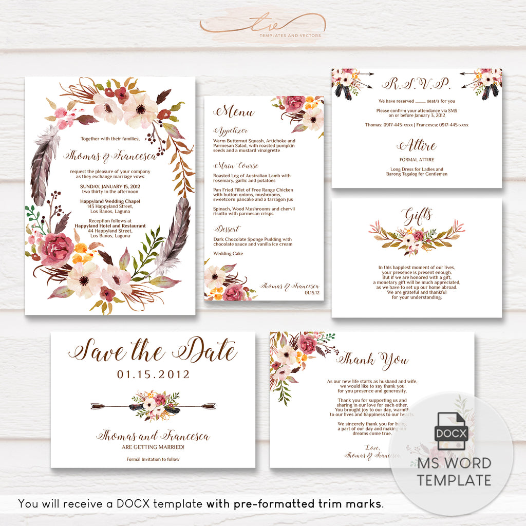 TVW055 Boho Chic Floral Wedding Suite Template