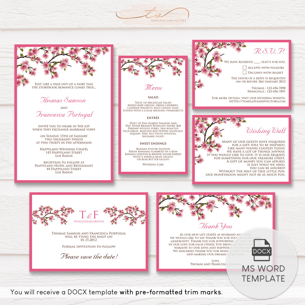 TVW059 Cherry Blossom Branches Wedding Suite Template