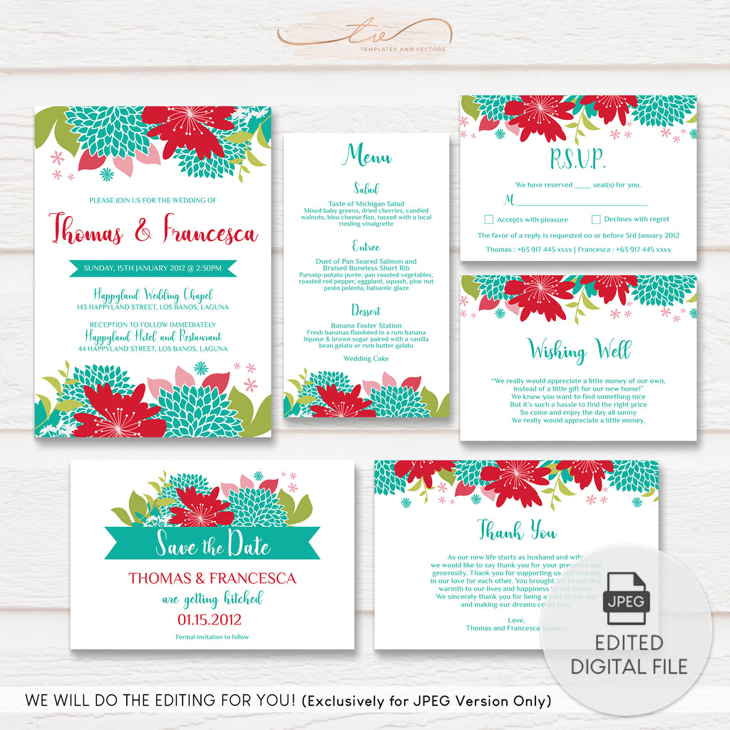 TVW061 Floral Blooms Wedding Suite Template