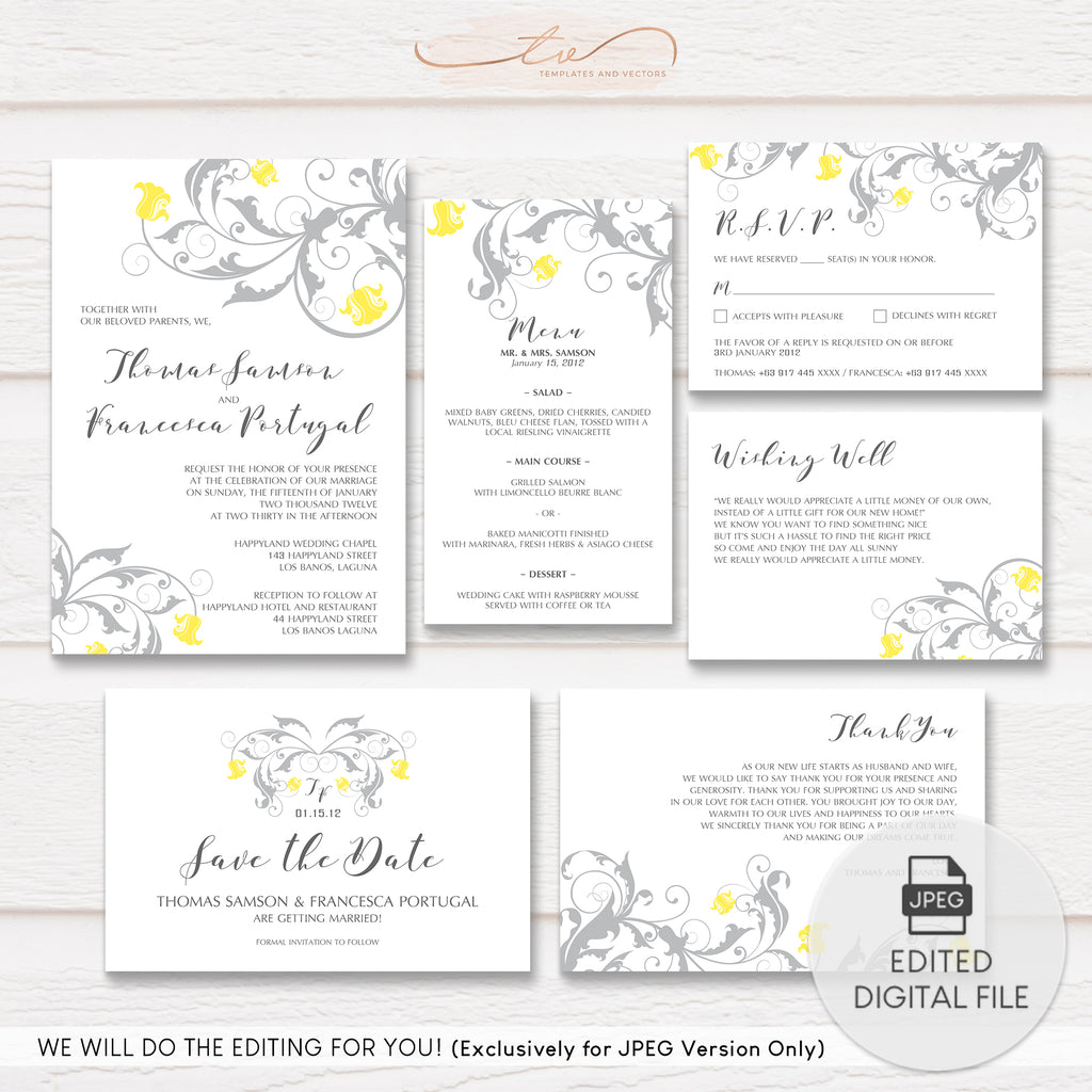 TVW062 Garden Flourish Wedding Suite Template