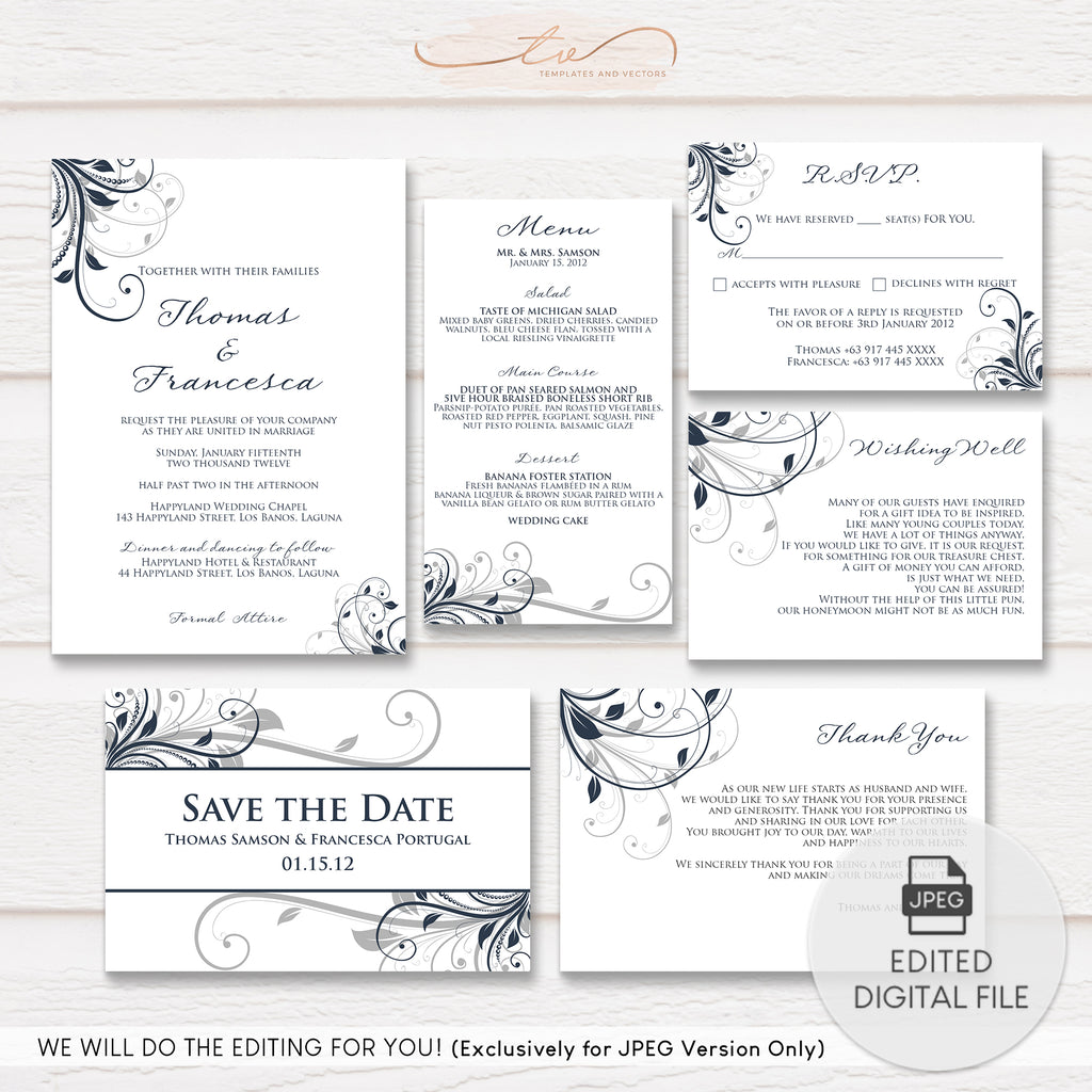 TVW064 Leafy Swirl Wedding Suite Template