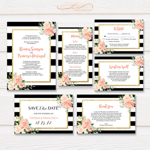 TVW066 Watercolor Floral Black Stripes Wedding Suite Template