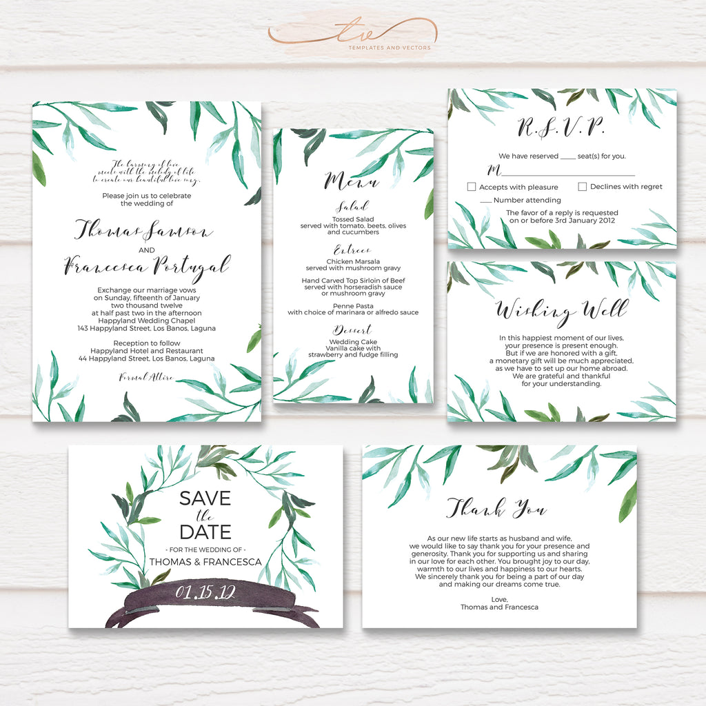 TVW067 Branch Boho Wedding Suite Template