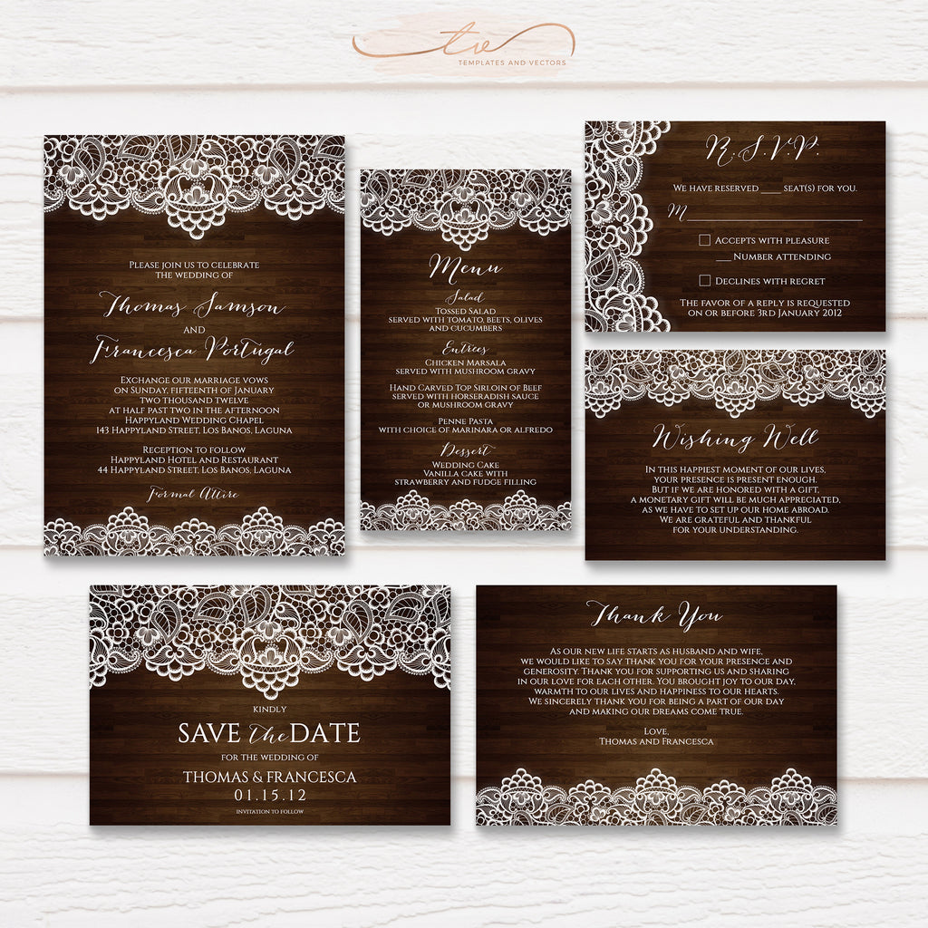 TVW068 Dark Wood and Lace Rustic Wedding Suite Template