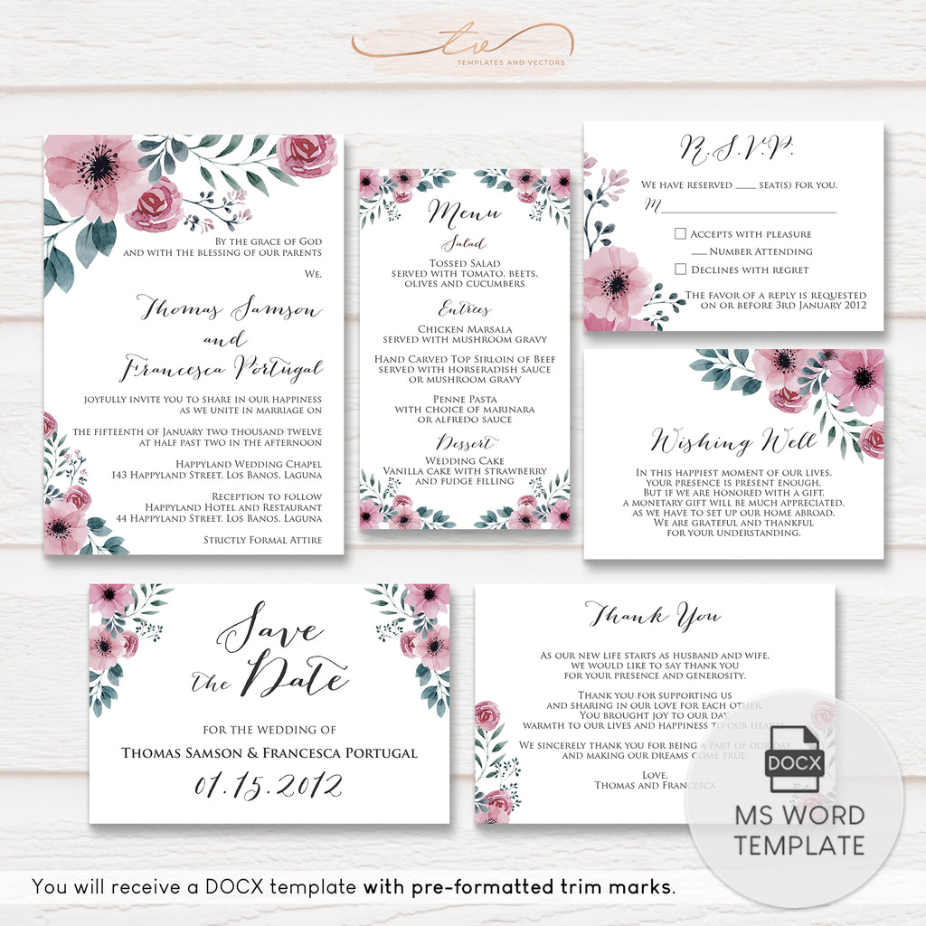 TVW147 Pink Floral Watercolor Wedding Suite Template
