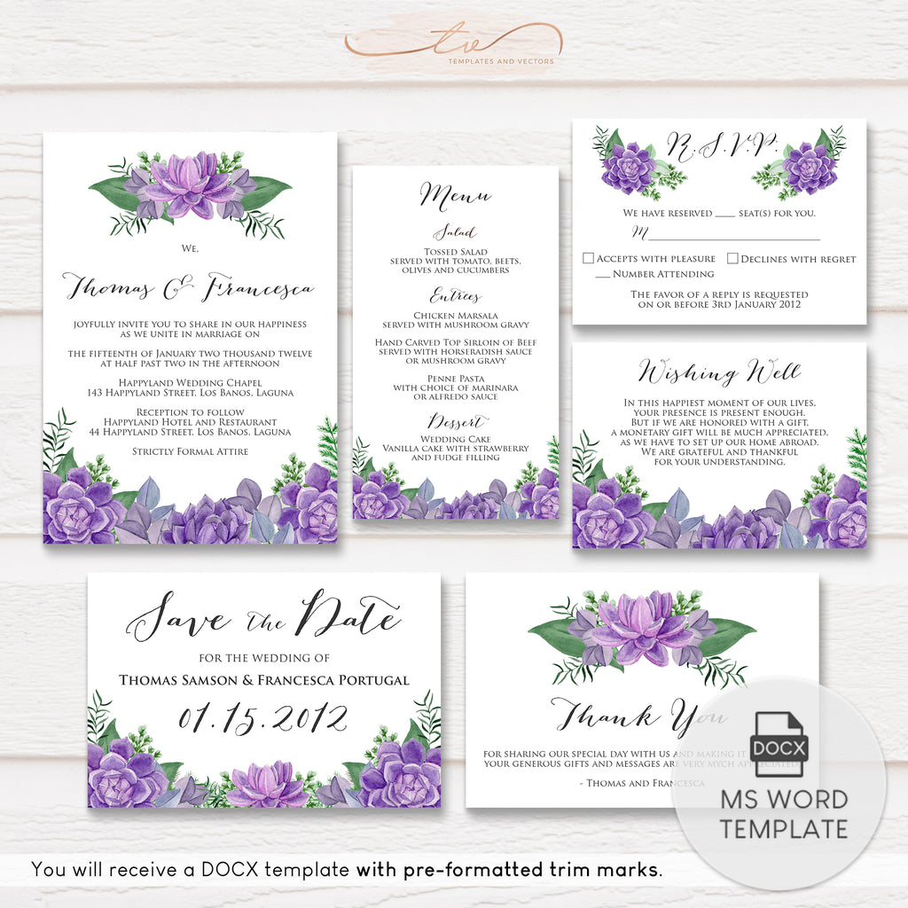 TVW148 Purple Succulent Watercolor Wedding Suite Template