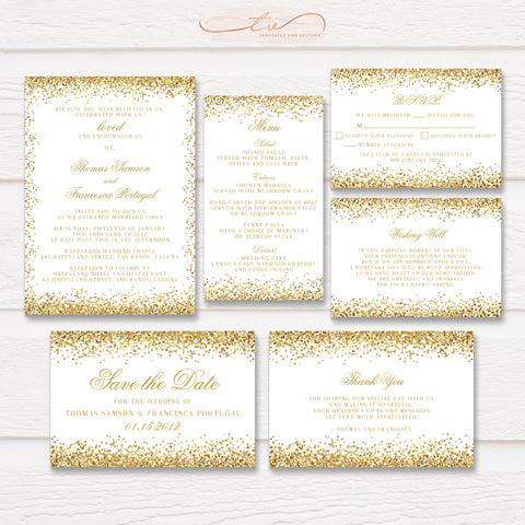 TVW152 Sparkling Gold Glitter Border Wedding Suite Template