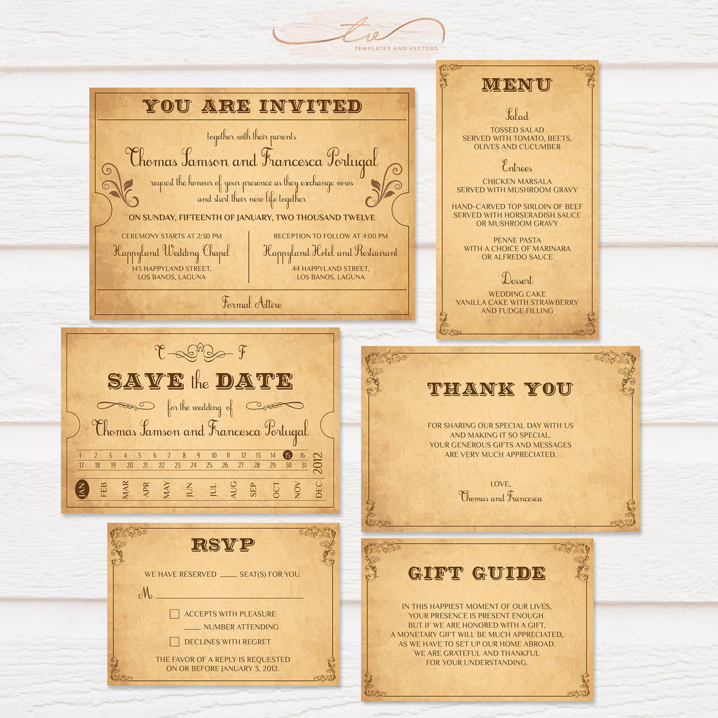 TVW153 Vintage Train Ticket Wedding Suite Template