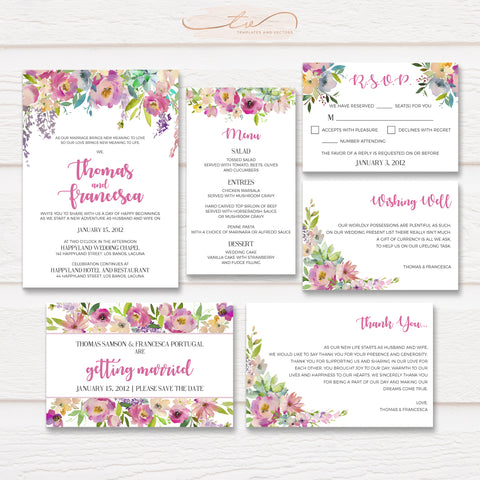 TVW154 Pastel Floral Wedding Suite Template