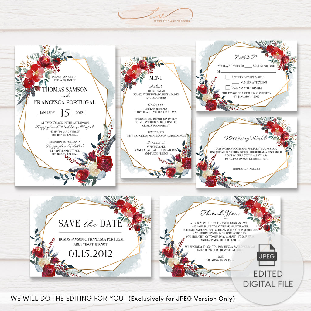 TVW155 Gold Geometric Boho Watercolor Floral Wedding Suite Template