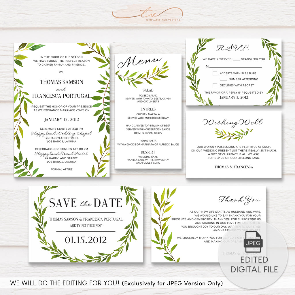 TVW156 Watercolor Greenery Wedding Suite Template
